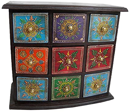 monika art Theshopy Wooden Hand Painted 9 Drawer Box Size 11x12x6 (Inches)