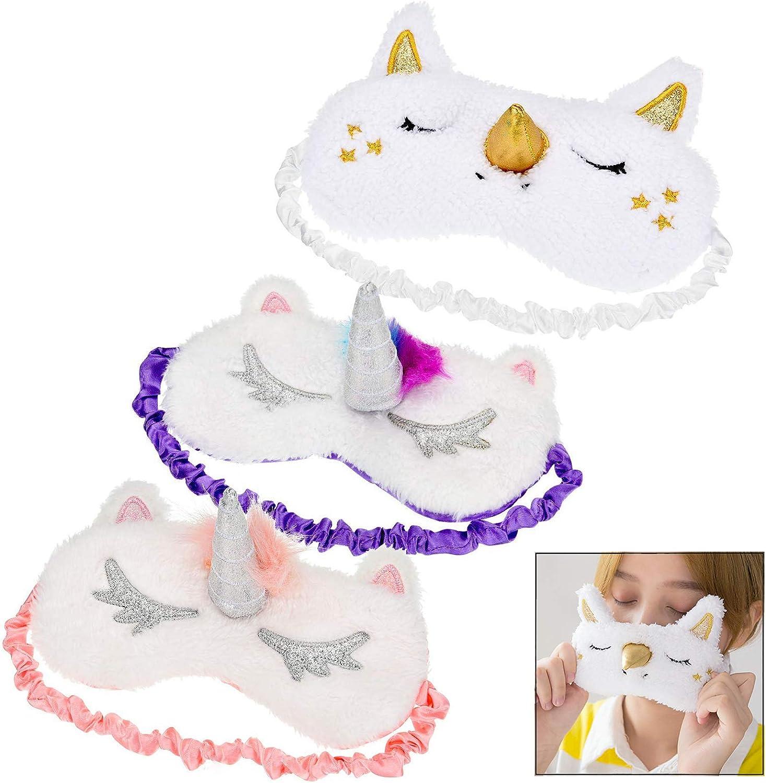 LHKJ Unicornio Antifaz de Dormir, Linda 3D Vendas de Ojos Animal Suave Plush Blindfold para Niños y Niñas