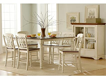 Ohana 7 Piece Counter Height Table Set by Home Elegance in 2 Tone Antique White u0026 : height table set - Pezcame.Com