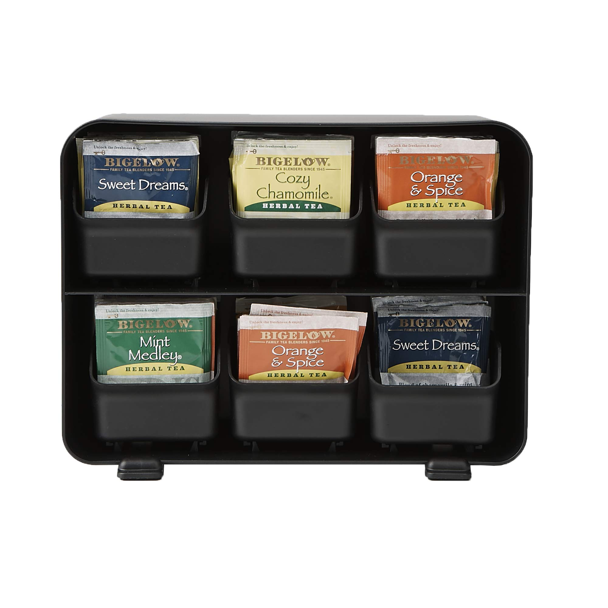 Mind Reader 6 Drawer Tea Bag Holder and Organizer, Black