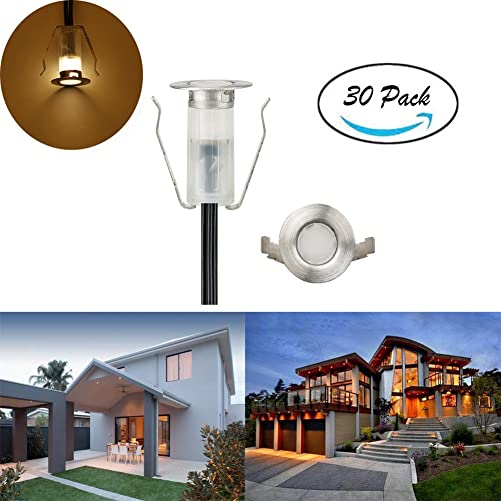 FVTLED 30 Pack Low Voltage LED Deck Lights 0.7 Outdoor Garden Yard Step Pathway Decor Lighting LED In-ground Warm White Lamp Stainless Steel SMD2835 Warm White, 30pcs