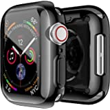 OJOS Electroplate Case Compatible with Apple Watch Case 44mm Series 5, Super Thin PC Plated Bumper Clear Screen Protector Full Cover Shiny Shell Shockproof Frame for iWatch Series 5 (Black, 44mm)