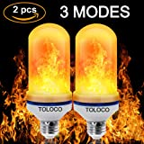TOLOCO LED Flame Effect Light Bulb E26-1300K 150 Lumens Natural Fire Effect - Simulated Realistic Burning Fire, Warm Flash Flame Light Bulb,Antique Lantern Atmosphere for Bar/Party/Home Decor(2 pcs)