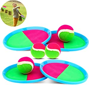 Qrooper Self-Stick Toss and Catch Game Set, Paddles and Toss Ball Sports Game with 4 Paddles, 4 Balls and 1 Storage Bag, Suitable for Kids Gift Idea