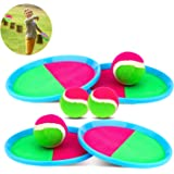 Qrooper Self-Stick Toss and Catch Game Set, Paddles and Toss Ball Sports Game with Paddles, Balls and Storage Bag…