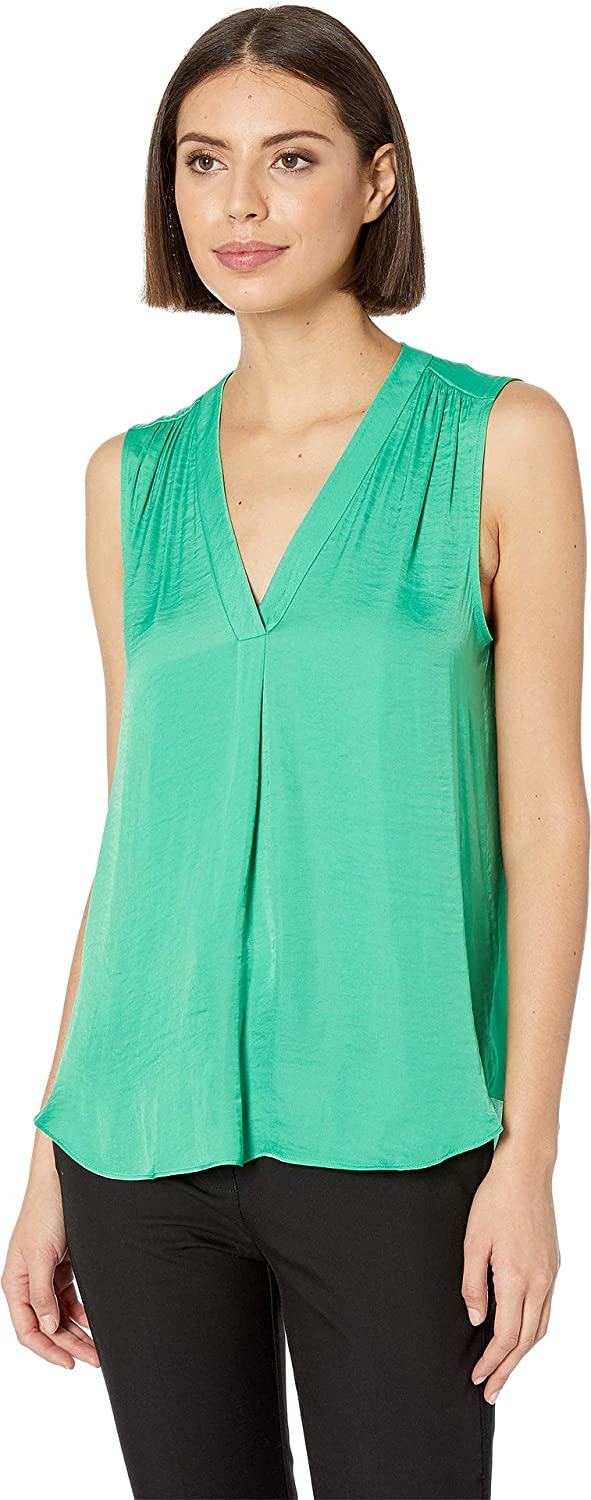 Emerald Leaf Vince Camuto Women's Sleeveless VNeck Rumple Blouse