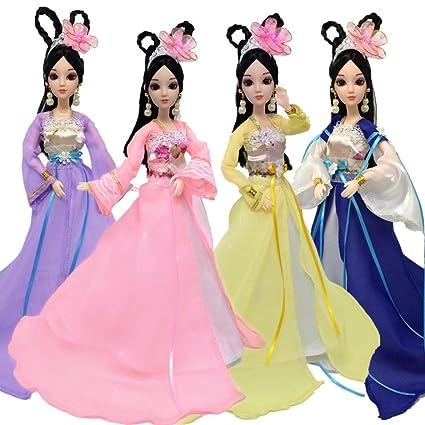 7537452be9243 Amazon.com: Livoty Beautiful Dolls Mini Dress Up Hua Mulan Clothes ...