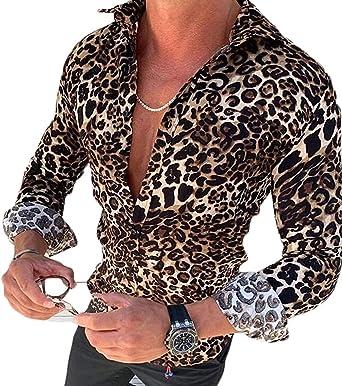 LIKEVER camisa de leopardo de corte regular para hombre, manga larga, casual, con botones, blusas, blusas, ropa de otoño leopardo M: Amazon.es: Ropa y accesorios