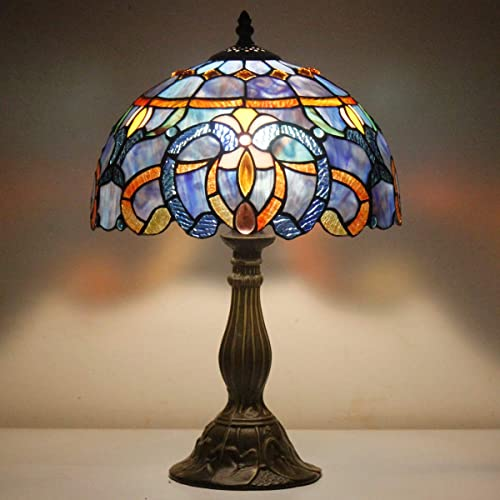 Tiffany Style Lamp Stained Glass Table Reading Light Blue Purple Cloud Shade W12H18 Inch S558 WERFACTORY Lamps Parent Lover Living Room Bedroom Office Study Bedside Bookcase Desk Antique Craft Gift