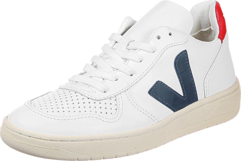Veja V-10 Weiß Leder Sneaker Weiß V-10 Blau ROT 422292