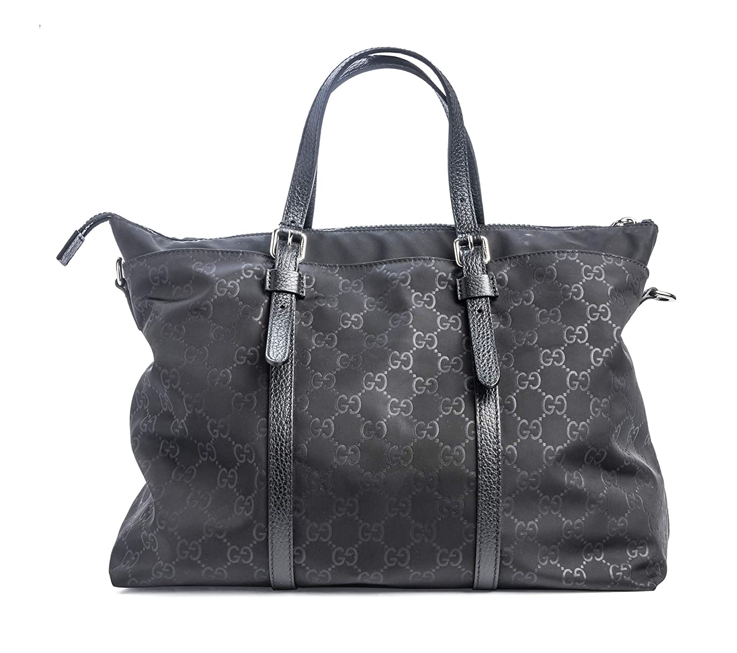 40064aab50a4 Amazon.com: Gucci Authentic Handbag GG Bag Tote Black Nylong Large Leather  Strap Fabric New: Baby