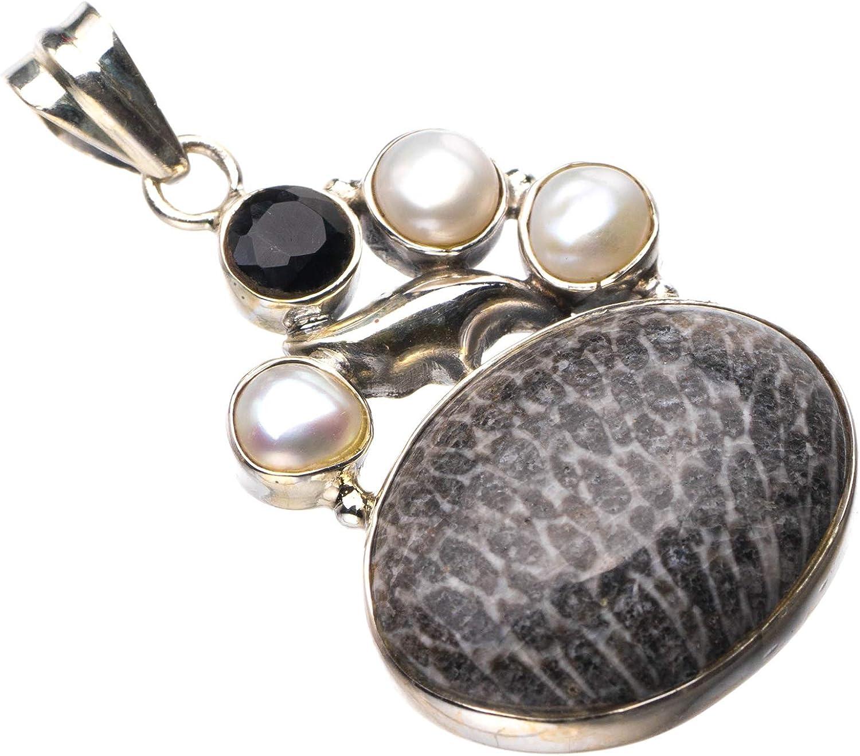 StarGems - Colgante de plata de ley 925, diseño de coral, perla de río y ónix negro, hecho a mano, 3,8 cm D9578