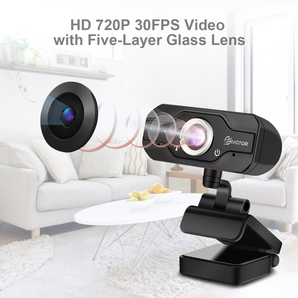 720P HD Webcam, EIVOTOR USB Mini Computer Camera with Built-in Microphone for Laptops and Desktop,Black by EIVOTOR (Image #2)
