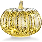 "Mercury Glass Home Decor Pumpkin, XY Decor 5.5"" Battery Operated LED Pumpkin Lights with Timer for Fall, Halloween and Thanksgiving Decoration(Silver)"