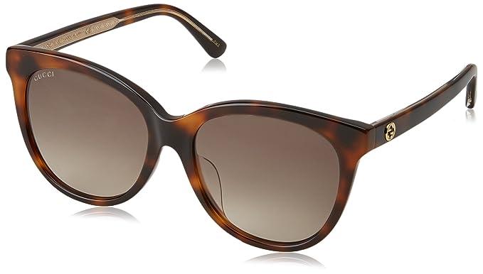 Gucci Unisex-Erwachsene Sonnenbrille GG0081SK 003, Braun (Avana/Brown), 56