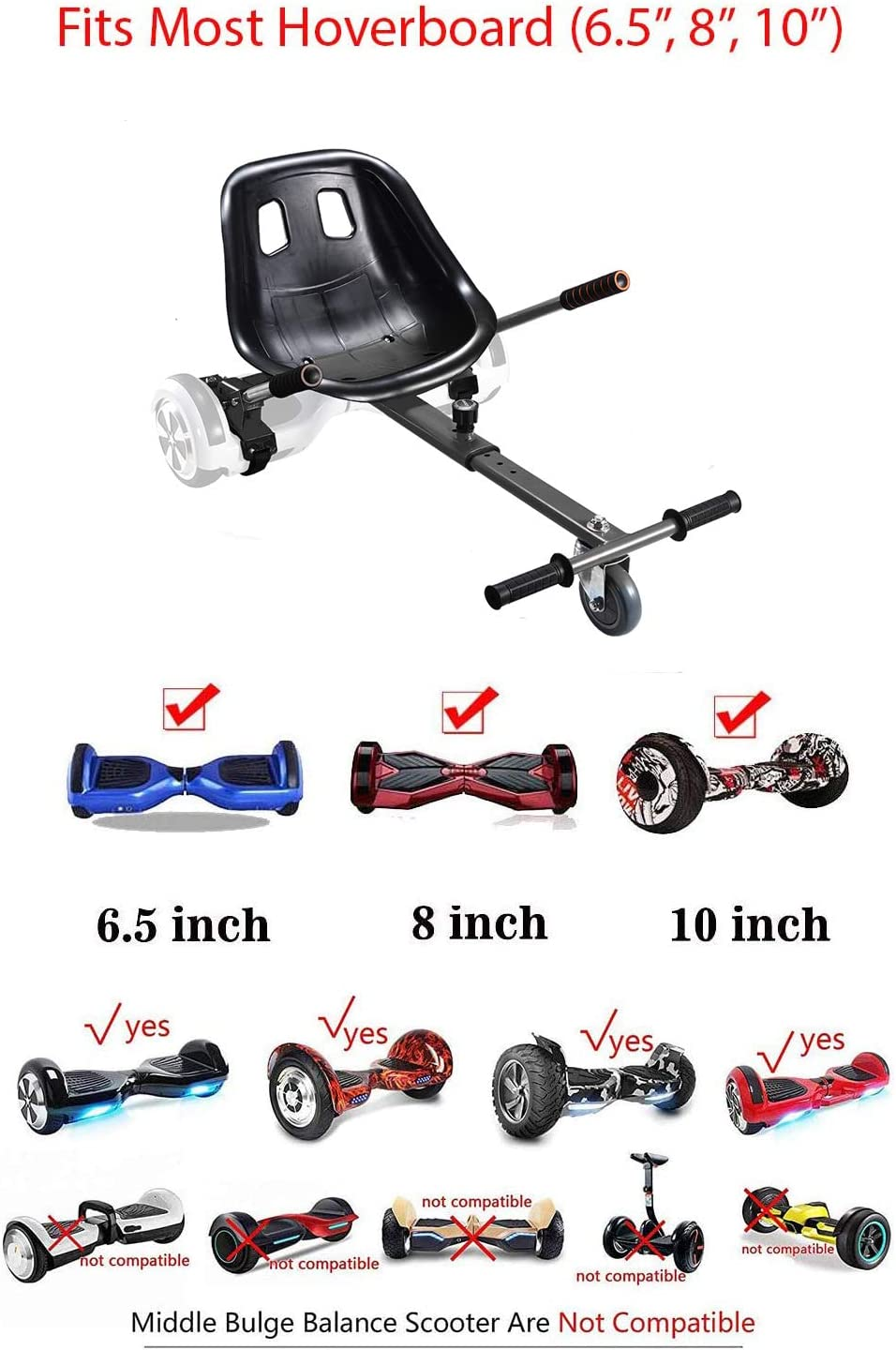 Adjustable Hover Cart for Electric Self Balancing Scooters fit Kart Conversion Kit Hoverboard Seat Attachment Adjustable Hover Kart for Smart Electric Scooter