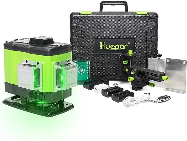 Ligne Laser Auto-nivellement avec Mode Puls/é Ext/érieur Distance de Travail 25m, Huepar 603CG 3 x 360 Niveau Laser Croix Vert Pile au lithium universelle, Pile AA et Support magn/étique Incluse