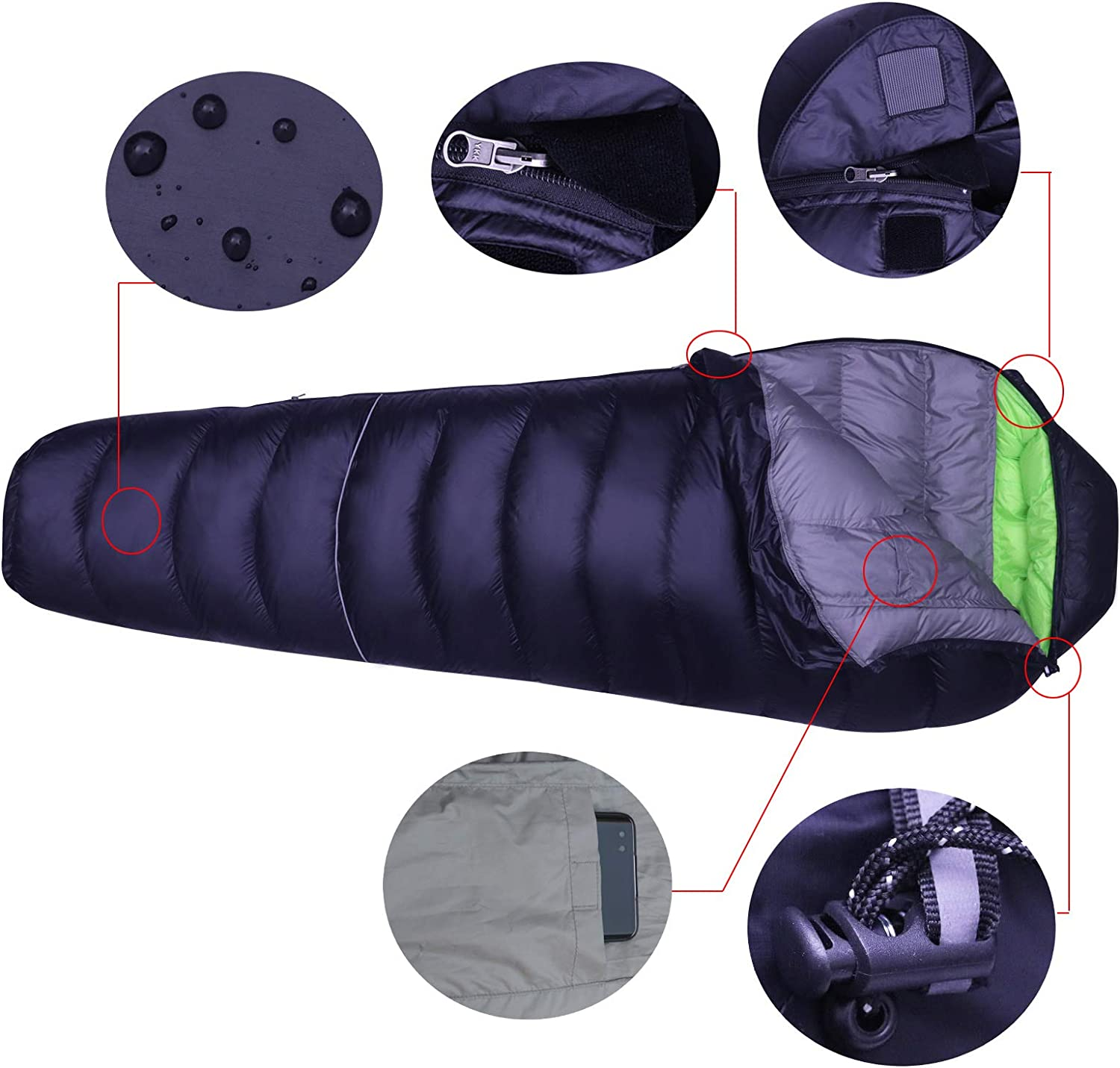 LMR Outdoors Ultralight Mummy Down Sleeping Bag for camping with Compression Sack