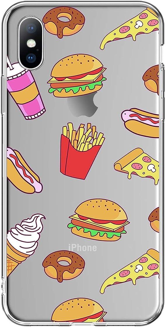 Funny Hamburger Food Fruits Coque arrière en silicone TPU pour ...