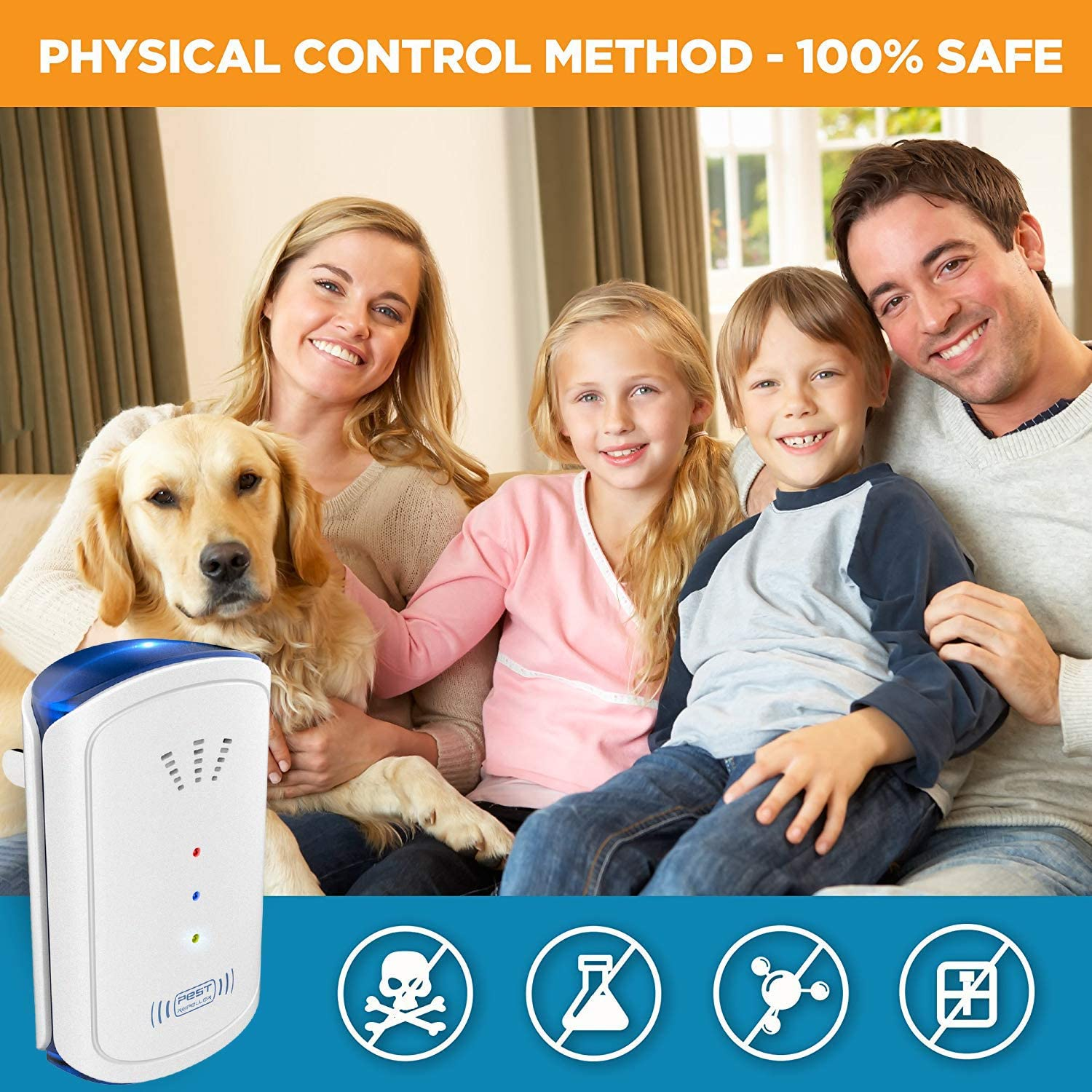 AVA Ultrasonic Pest Repellent Flea Mosquitoes Fly Mouse Ants 4Pack Bugs Roaches Spiders Electronic Pest Repeller Control Plug In for Insect Mice