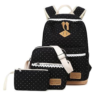 3c1b97e6600f Abshoo Polka Dot Backpacks For Girls Canvas School Bookbags Teen Backpacks  Set (Black)