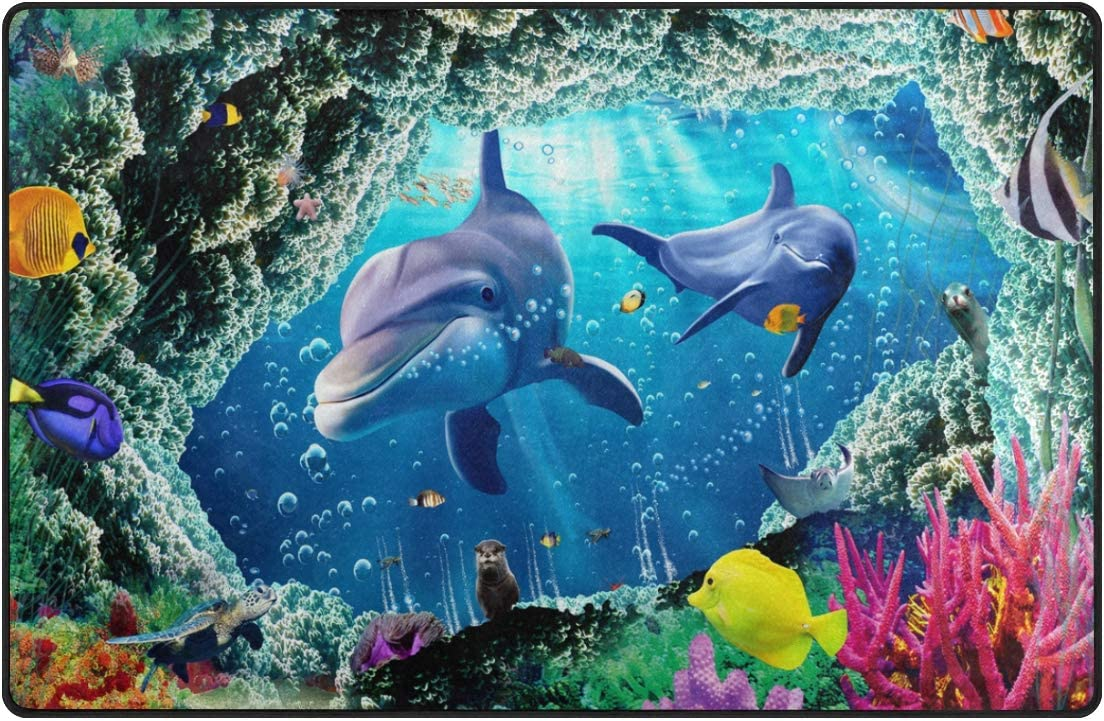 DEYYA 3D Ocean Dolphin Fishes Non-Slip Area Rugs Pad Cover for Living Room Bedroom 60 x 39 Inches
