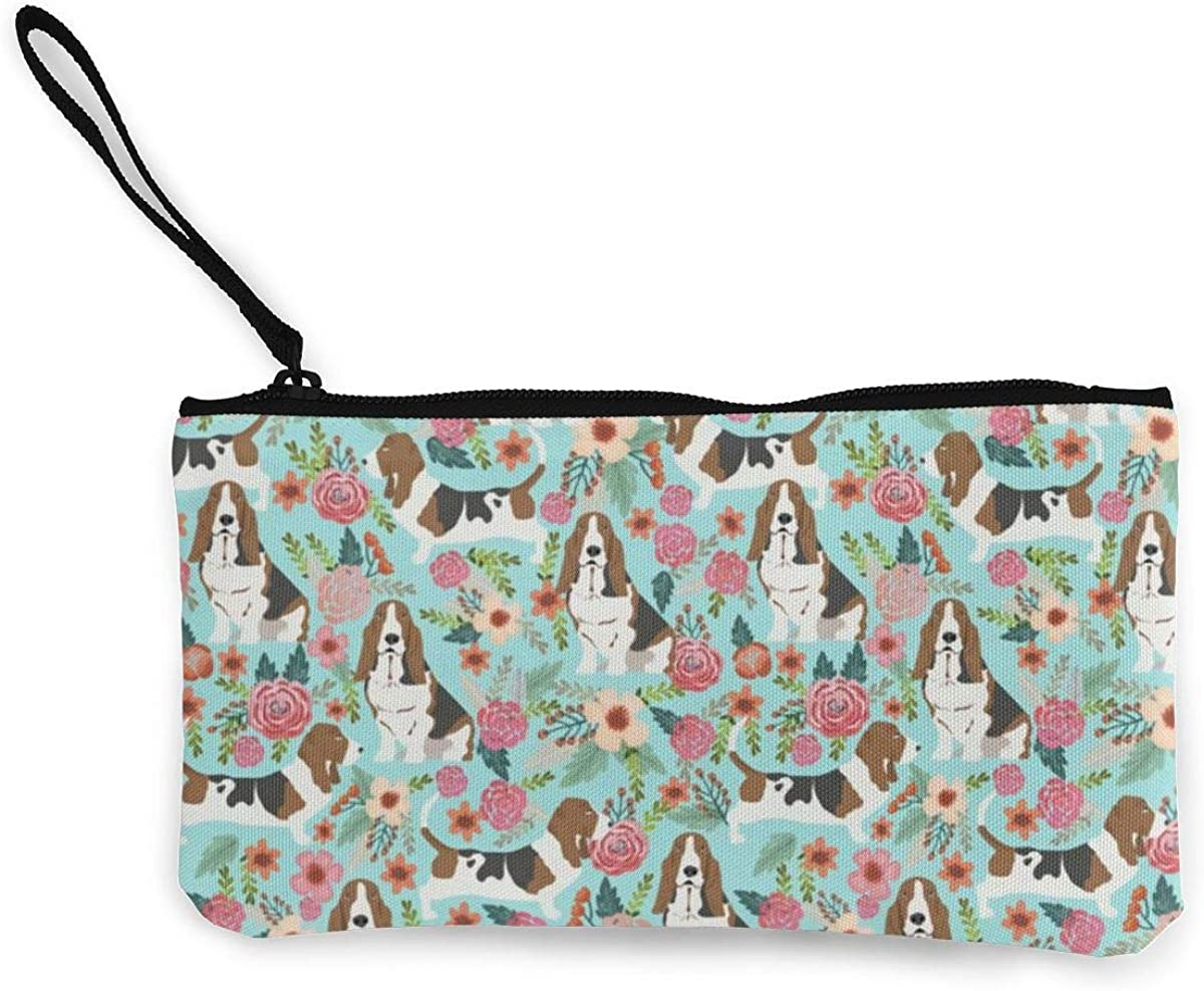 Canvas Coin Purse For Women Girls Dachshund Zipper Change Pouch With Strap
