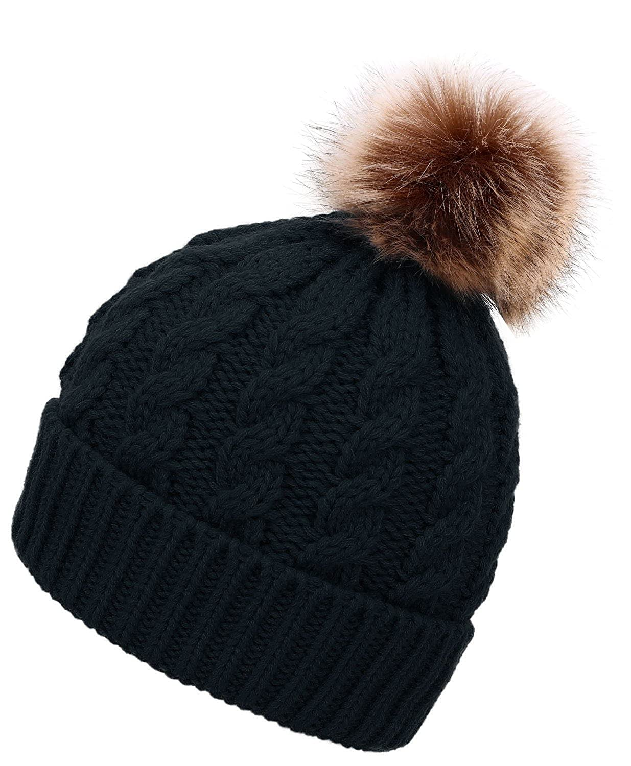831c8f51f08 Men   Women s Winter Cable Knit Faux Fur Pom Pom Foldable Cuff Black Beanie  Hat at Amazon Women s Clothing store