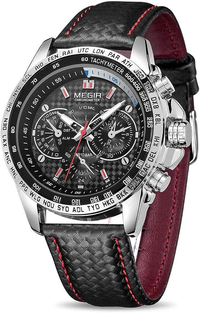 Amazon.com: MEGIR Men Analog Luminous Casual Fashion Quartz Watch with PU  Strap Big Dial Calendar for Business Work School Outdoor ML1010GBK-1:  Watches