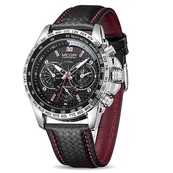 e7caeb3e2090 MEGIR Men Analog Luminous Casual Fashion Quartz Watch with PU Strap Big  Dial Calendar for Business