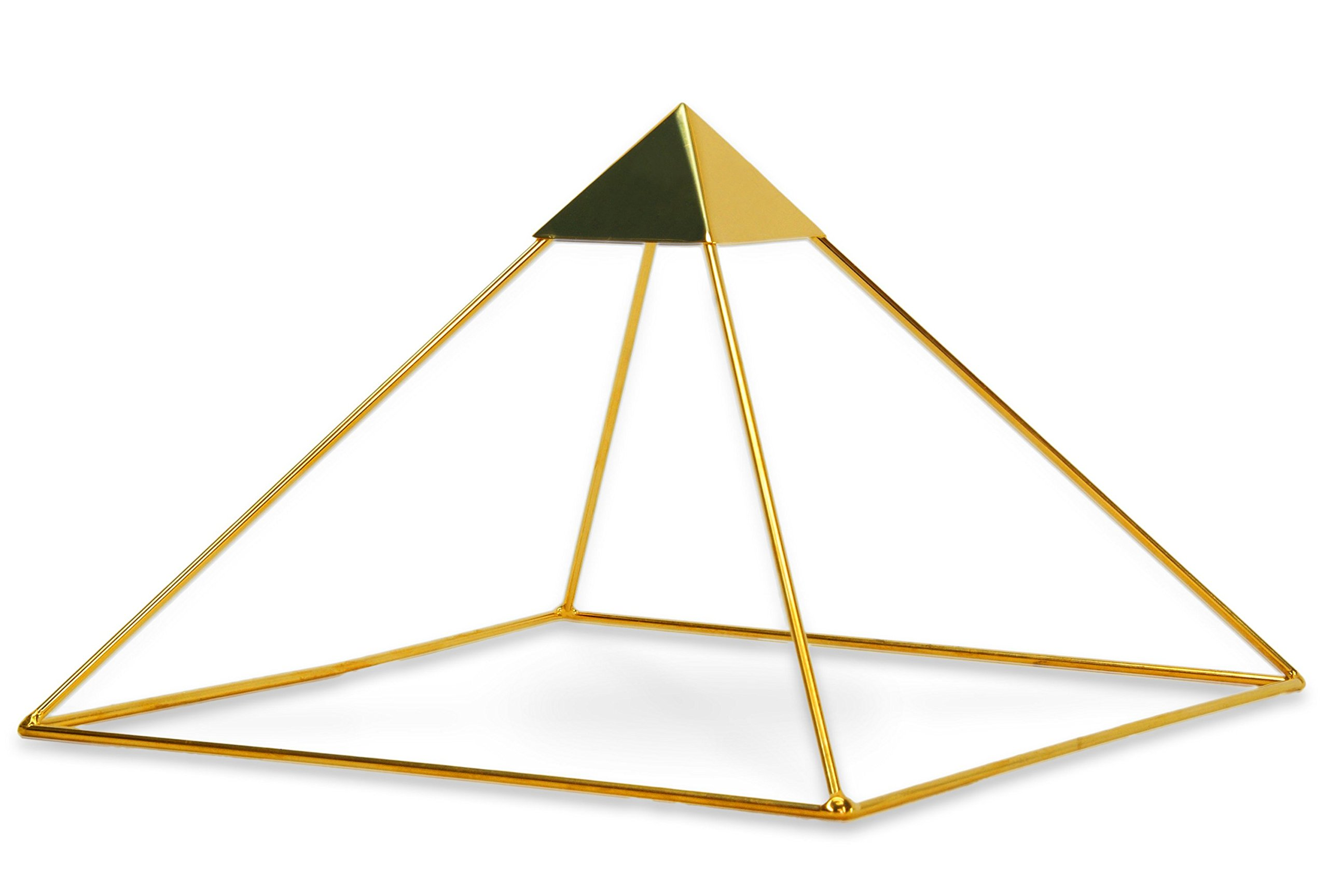 Finest Quality 51 Degree 9'' 24k Gold-plated Copper Meditation Pyramid for Healing - With Capstone
