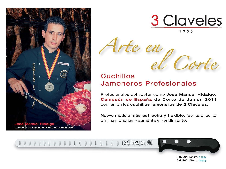 3 Claveles - Juego Soporte Jamonero Plegable y Giratorio en Madera de Bambu y Cuchillo Profesional Jamonero POM Alveolado de 29 cm. Con Estuche ...