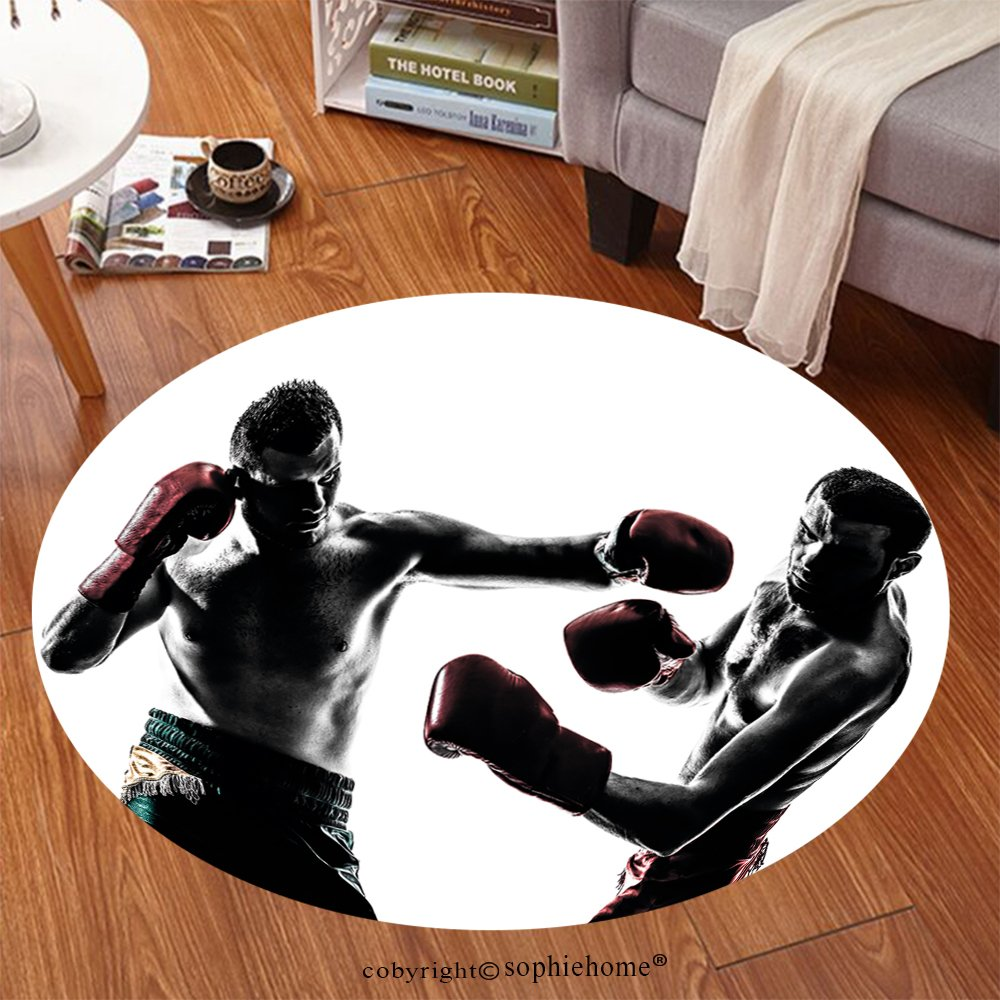 Sophiehome Soft Carpet 140495356 one caucasian man exercising thai boxing in silhouette studio on white background Anti-skid Carpet Round 72 inches by sophiehome