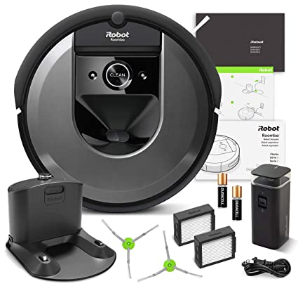 Amazon.com - iRobot Roomba i7 (7150) Robot Vacuum Bundle- Wi-Fi Connected, Smart Mapping, Ideal for Pet Hair (+1 Extra Edge-Sweeping Brush, 1 Extra Filter) ...