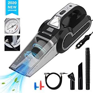 Enpro Handheld Vacuums, Mutifunction Car Vacuums Cleaner with Searchlight, Tire Pressure Gauge and Car Inflator, 120W DC 12V Up to 6500Pa Powerful Suction for Wet and Dry Amphibious