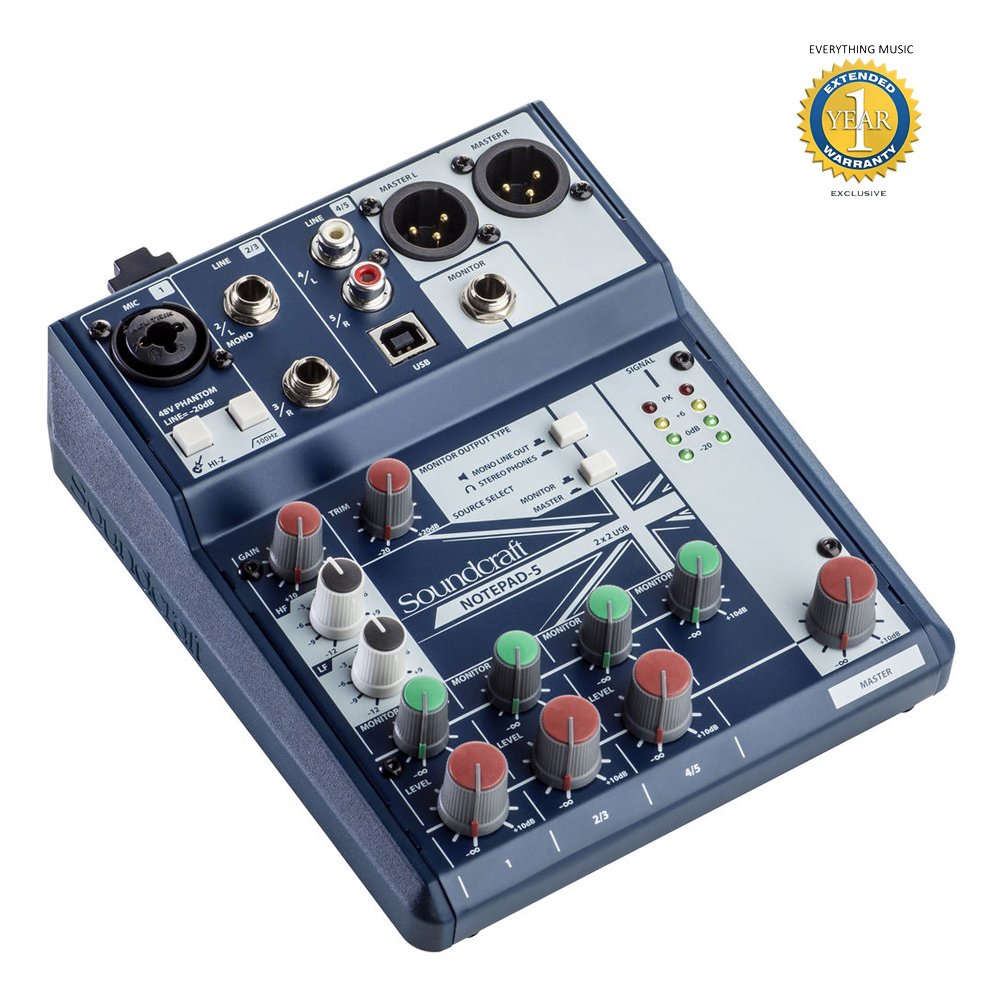 Soundcraft Notepad-5 Small-format Analog Mixing Console with Microfiber and Free EverythingMusic 1 Year Extended Warranty