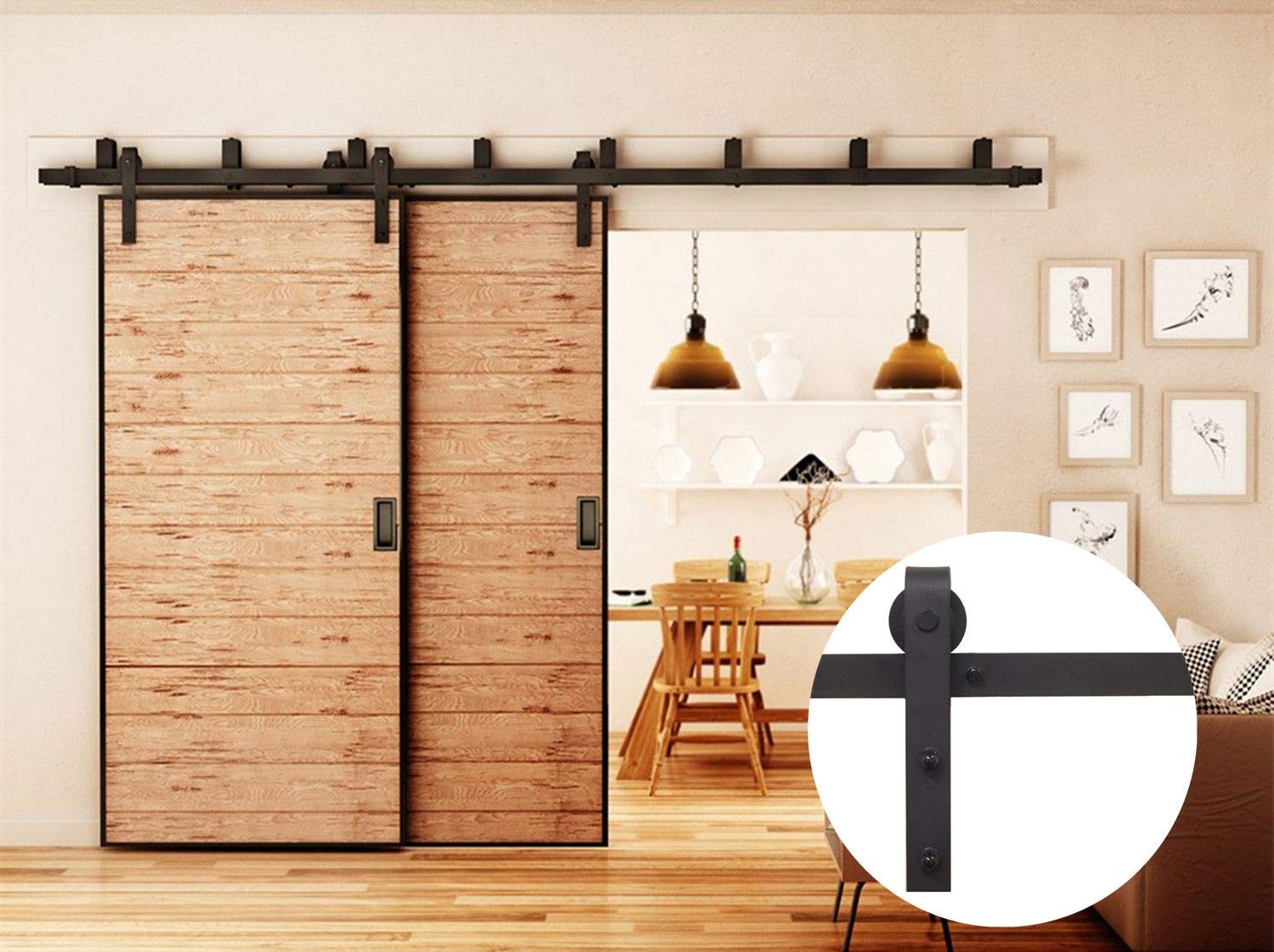 Vancleef 5-16FT Bypass Barn Door Hardware Kit, 9FT Sliding Track Rail, Invert U-Shape Bracket, Less Clearance Required, Black Rustic, for Closet, Kitchen, Interior and Exterior Use