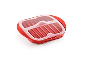 "Lekue Microwave Bacon Maker/Cooker with Lid, 11.02"" L x 9.8"" W x 2.3"" H, Red"