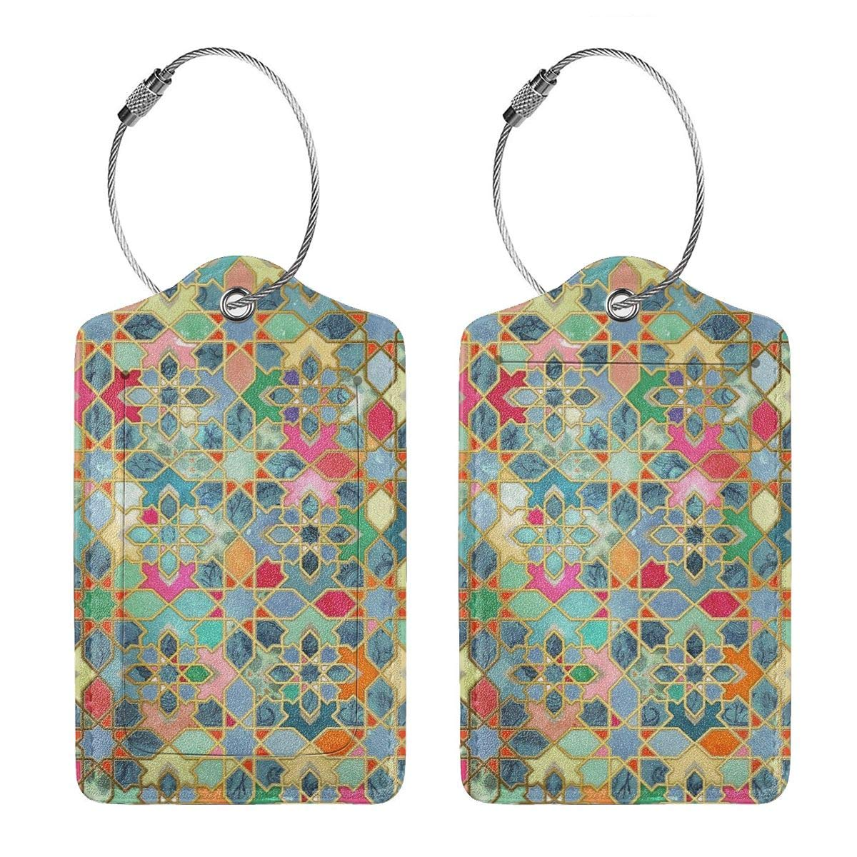 Godzigod Travel Luggage Tags PU Leather Bag Tags Suitcase Baggage Label Handbag Tag with Full Back Privacy Cover Steel Loops Honeycomb Cubes Bohemian Graphics
