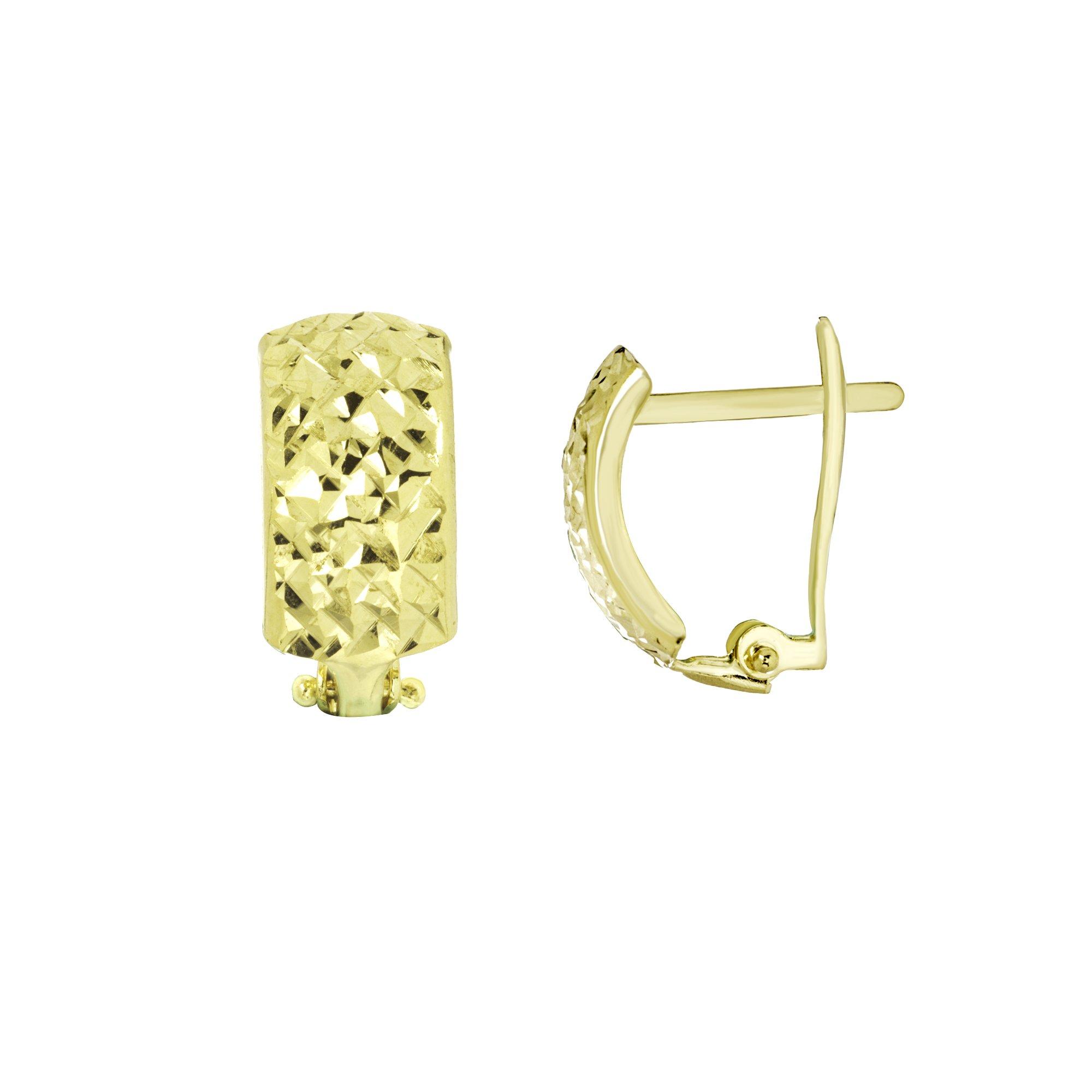 CLIP BACK EARRINGS, 10KT GOLD CRISS CROSS DIAMOND CUT CLIP BACK EARRINGS