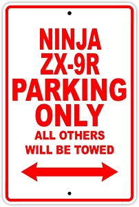 """KAWASAKI NINJA ZX-9R Parking Only All Others Will Be Towed Motorcycle Bike Super Bike Chopper Novelty Garage Aluminum 8""""x12"""" Sign Plate"""