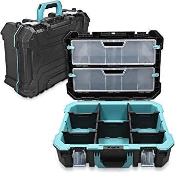 Navaris Caja de herramientas vacía - 52.5 x 38.9 x 19 CM - Maletín con 2 cerraduras varios compartimentos y 2 cajas - Estuche sin herramientas: Amazon.es: Oficina y papelería