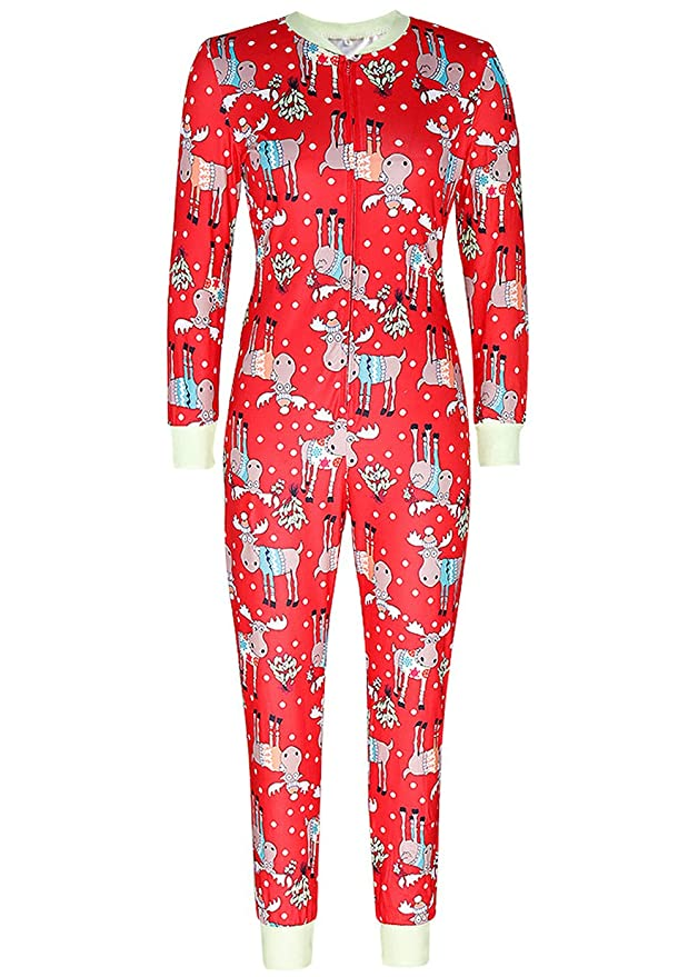 Just For Future Women s One Piece Onsie Print Sleepwear Ugly Christmas  Pajamas Jumpsuit Rompers Clubwear Nightwear at Amazon Women s Clothing  store  06539f00d