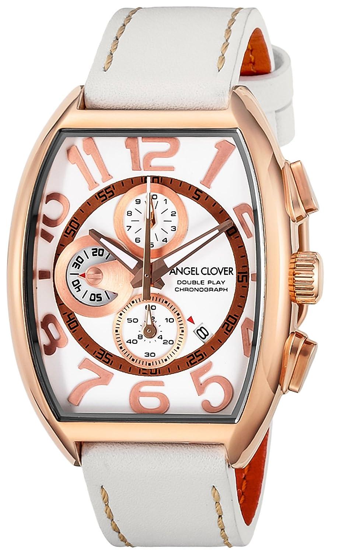 Angel Clover Herren Unisex-Uhr Double Play Weißes Zifferblatt Kalbsleder GÜrtel Datum Chronograph DP38PWH-WH