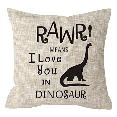 2233bc213 NIDITW Kids Room Decor Funny Quote Letters RAWR MEANS I Love You IN DINOSAUR  Cotton linen
