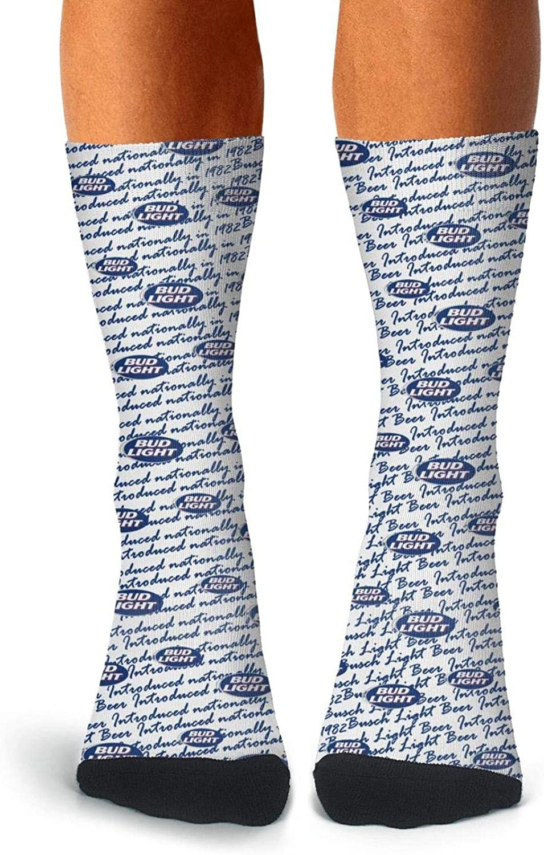 Mens Vintage Socks Crew Thin High Ankle Cozy BUD-Light-Beer-United-states-Hara-logo-blue Crew Socks Fancy Adult Socks