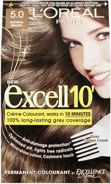 Tinte para cabello LOreal Excell 10, marrón natural, 5 ...