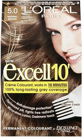 Tinte para cabello LOreal Excell 10, marrón natural, 5: Amazon ...