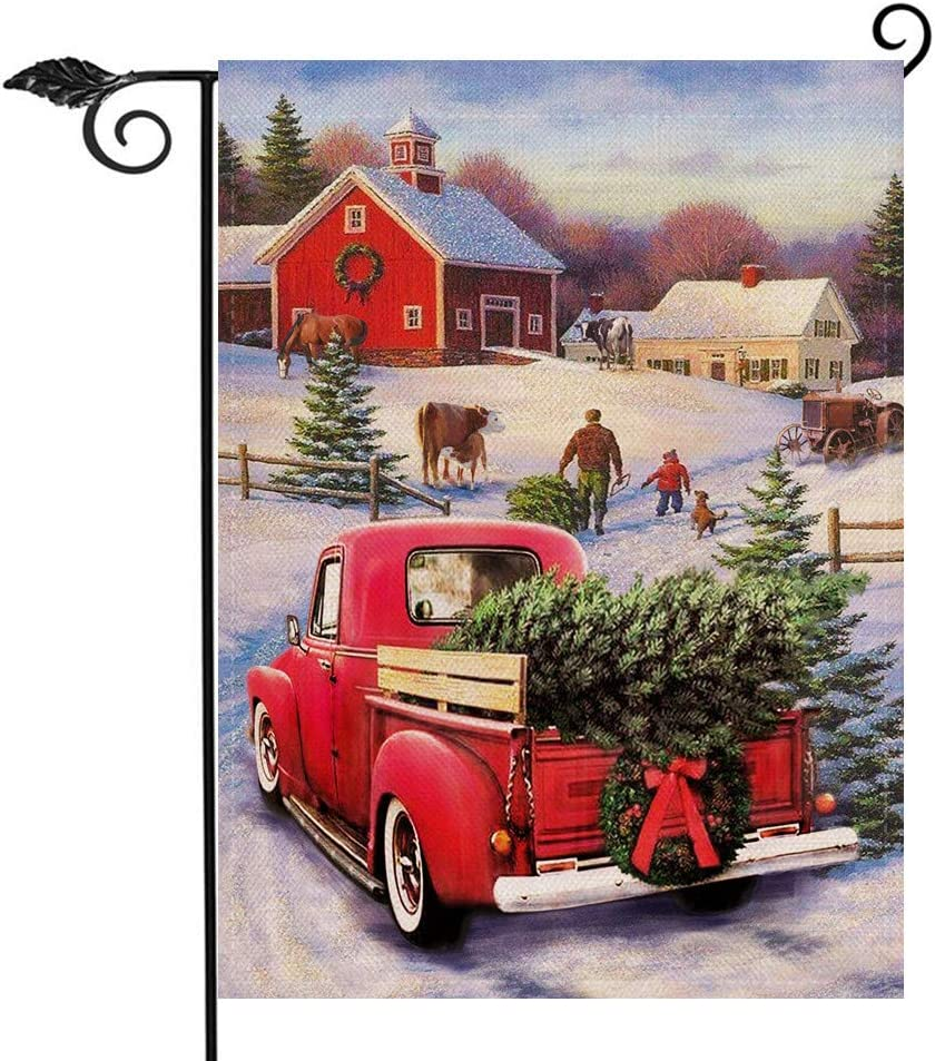 Hzppyz Vintage Red Truck Christmas Garden Flag, Country Road Home Decorative Outdoor Small House Yard Flag Double Sided, Xmas Tree Farm Holiday Outside Decoration Winter Snow Decor Seasonal Flag 12x18