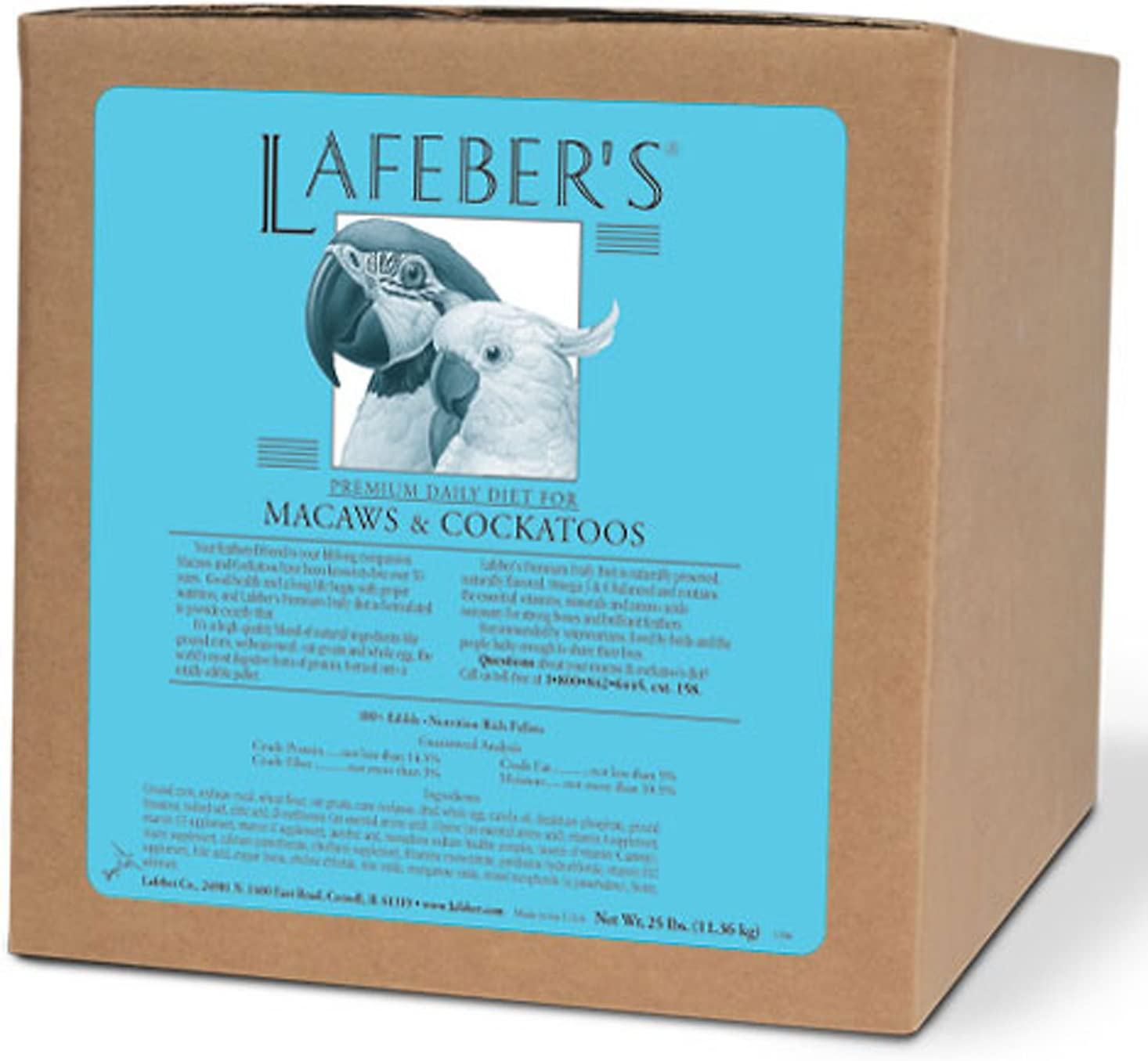 LAFEBER'S Premium Daily Diet Pellets Pet Bird Food, Made with Non-GMO and Human-Grade Ingredients, for Macaws and Cockatoos